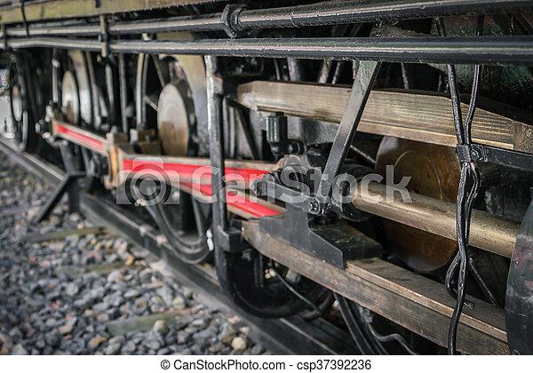 fin, roues, train, vieux, haut - csp37392236