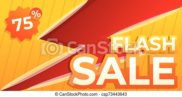 La última pancarta de ventas, estilo de dibujos animados - csp73443643
