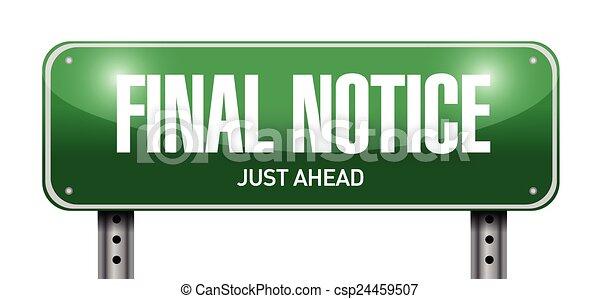 final notice street sign - csp24459507