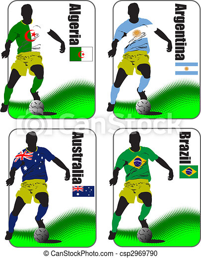 Finals of the World Soccer Cup 2010. 32 teams in T-shirts of the national flags - csp2969790