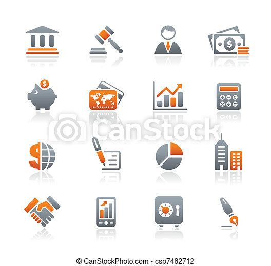 finanças, negócio, &, ícones, /, grafita - csp7482712