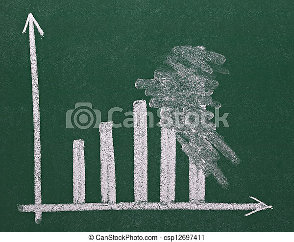 finance business graph on chalkboard economy - csp12697411