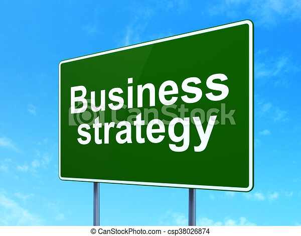 Finance concept: Business Strategy on road sign background - csp38026874