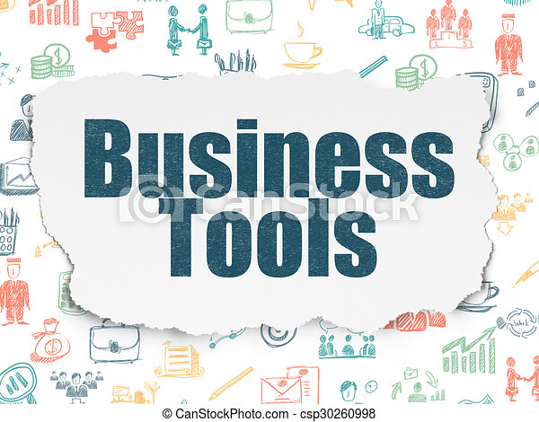 Finance concept: Business Tools on Torn Paper background - csp30260998