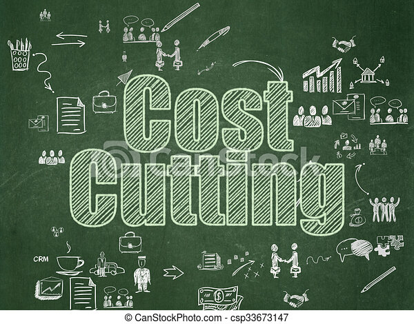 Finance concept: Cost Cutting on School Board background - csp33673147