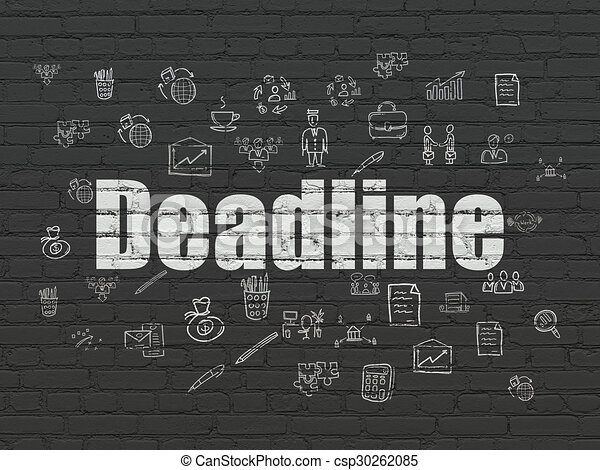 Finance concept: Deadline on wall background - csp30262085