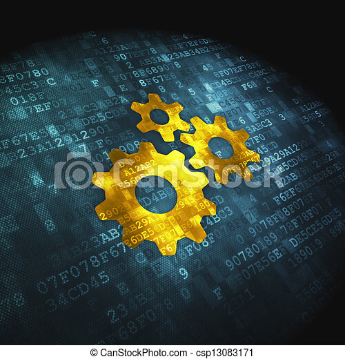Finance concept: Gears on digital background - csp13083171