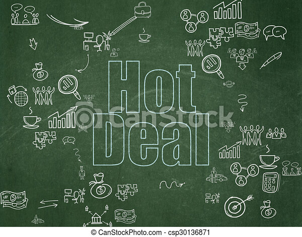 Finance concept: Hot Deal on School Board background - csp30136871