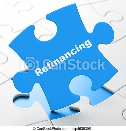 Finance concept: Refinancing on puzzle background - csp46363951