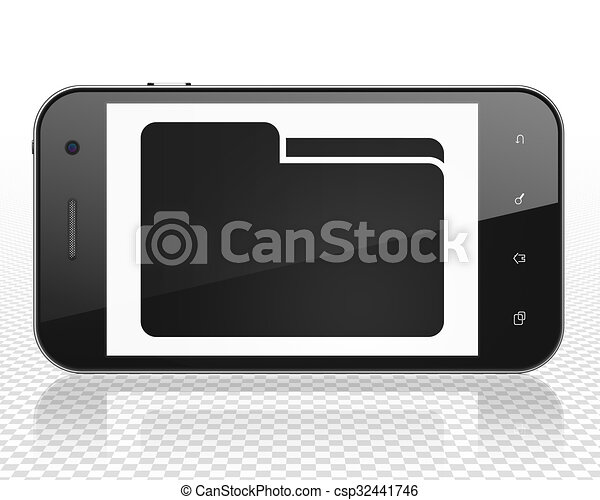 Finance concept: Smartphone with Folder on display - csp32441746