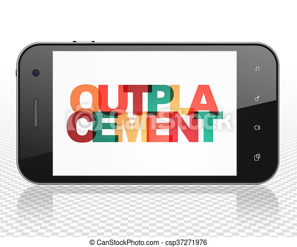 Finance concept: Smartphone with Outplacement on display - csp37271976