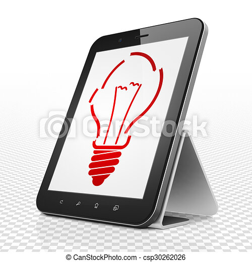 Finance concept: Tablet Computer with Light Bulb on display - csp30262026