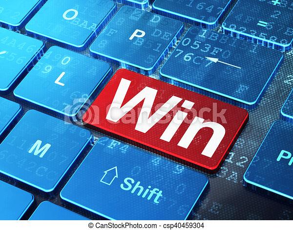 Finance concept: Win on computer keyboard background - csp40459304