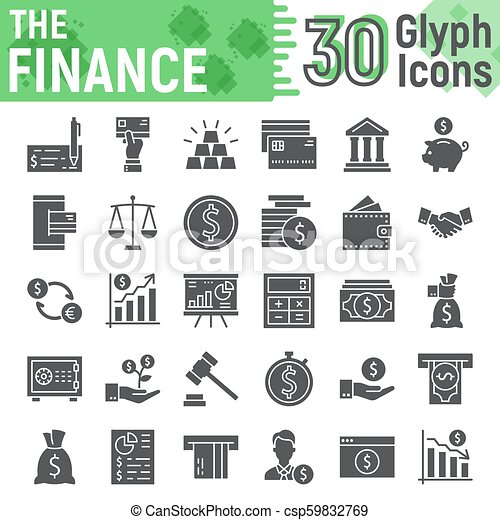 Finance glyph icon set, banking symbols collection, vector sketches, logo illustrations, money signs solid pictograms package isolated on white background, eps 10. - csp59832769