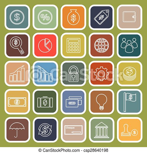 Finance line flat icons on white background - csp28640198