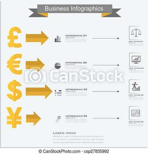Finance Money Infographics Currency Symbols Dollar Euro Pound Yen
