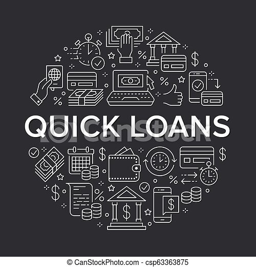 Finance, money loan circle template flat line icons. quick credit approval, transaction, no commission cash deposit atm vector brochure illustration thin ...
