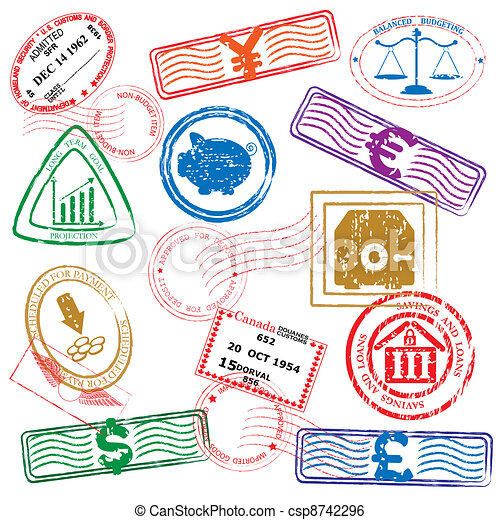 Finance Stamps Icon Set - csp8742296