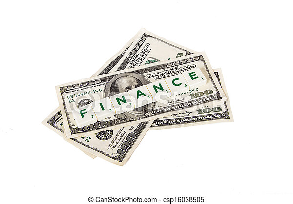 Finance Word and Dollar Bills - csp16038505