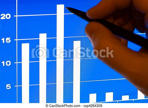 financeiro, laptop, stats, lcd - csp4264309