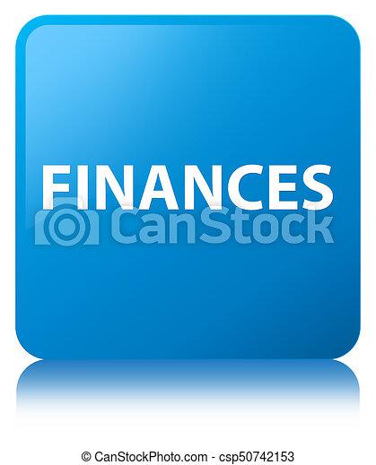 Finances cyan blue square button - csp50742153