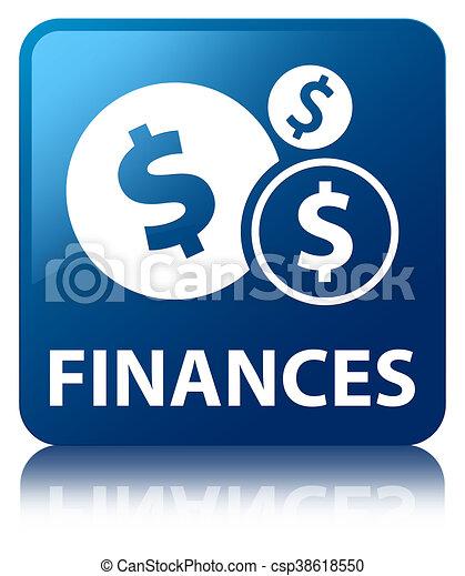 Finances (dollar sign) blue square button - csp38618550