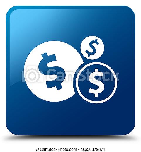 Finances dollar sign icon blue square button - csp50379871