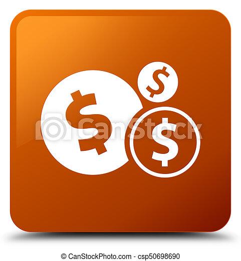 Finances dollar sign icon brown square button - csp50698690