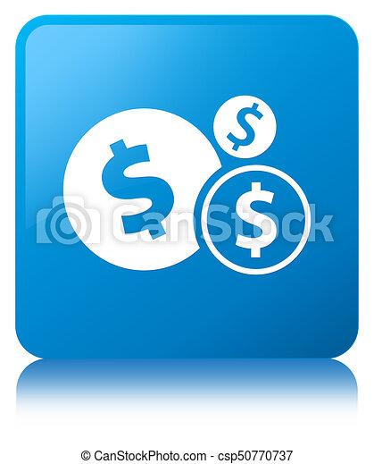 Finances dollar sign icon cyan blue square button - csp50770737