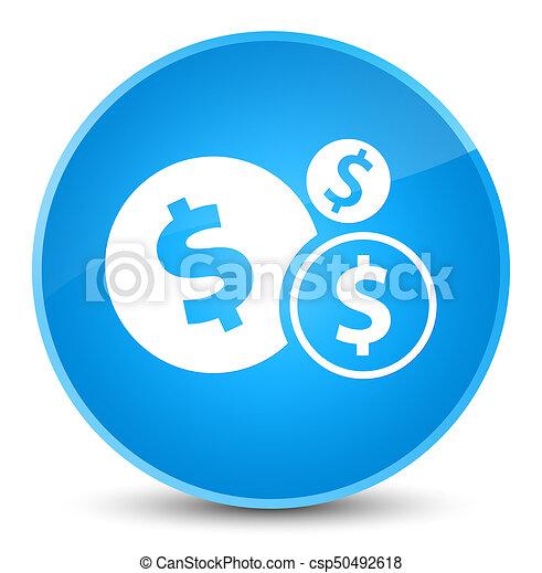 Finances dollar sign icon elegant cyan blue round button - csp50492618