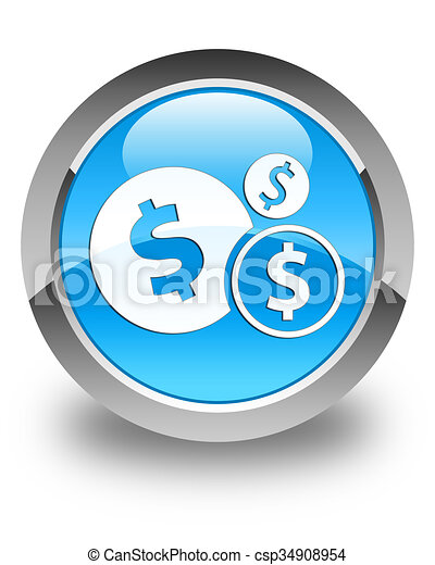 Finances (dollar sign) icon glossy cyan blue round button - csp34908954