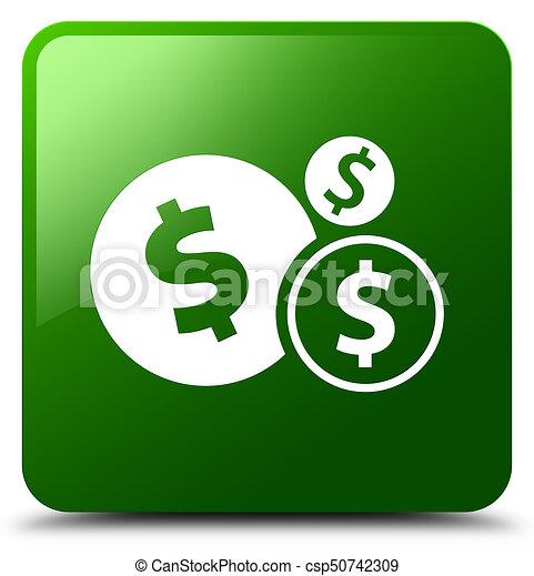 Finances dollar sign icon green square button - csp50742309