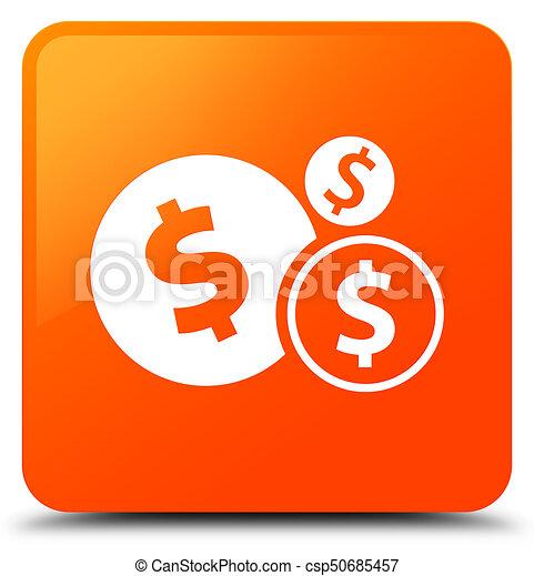 Finances dollar sign icon orange square button - csp50685457