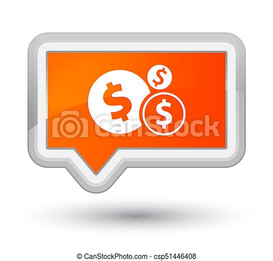 Finances dollar sign icon prime orange banner button - csp51446408