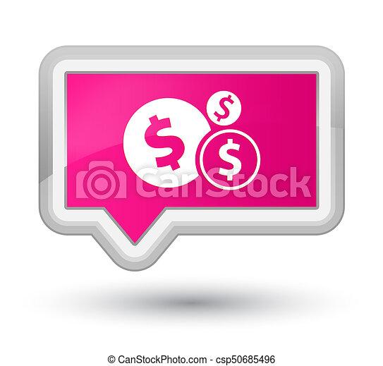 Finances dollar sign icon prime pink banner button - csp50685496