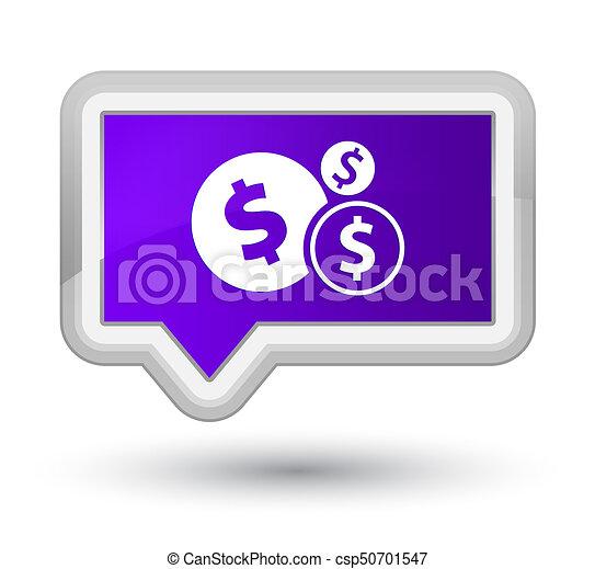 Finances dollar sign icon prime purple banner button - csp50701547