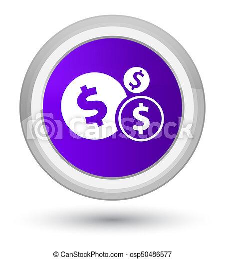 Finances dollar sign icon prime purple round button - csp50486577