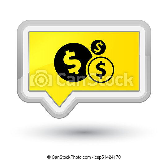 Finances dollar sign icon prime yellow banner button - csp51424170