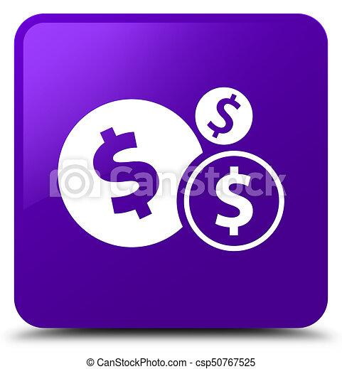 Finances dollar sign icon purple square button - csp50767525