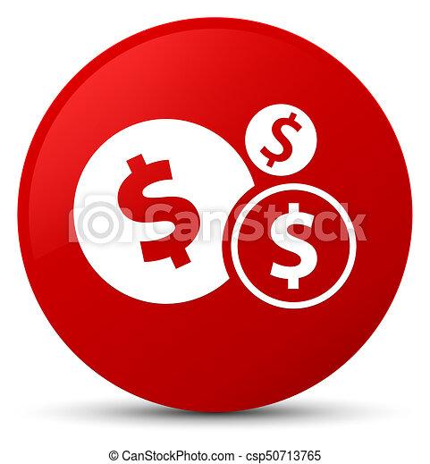 Finances dollar sign icon red round button - csp50713765