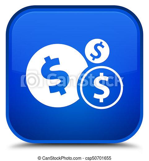 Finances dollar sign icon special blue square button - csp50701655
