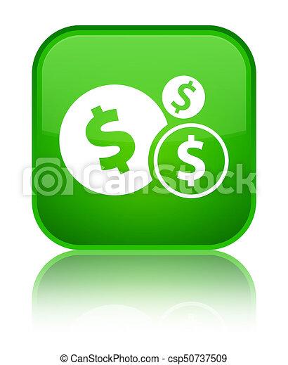 Finances dollar sign icon special green square button - csp50737509