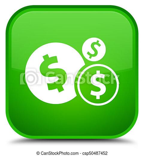 Finances dollar sign icon special green square button - csp50487452