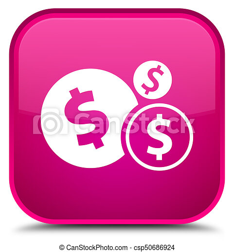 Finances dollar sign icon special pink square button - csp50686924