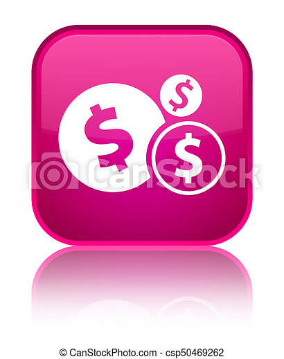 Finances dollar sign icon special pink square button - csp50469262