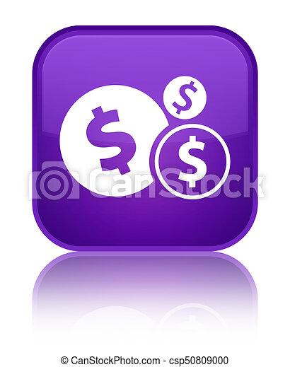 Finances dollar sign icon special purple square button - csp50809000