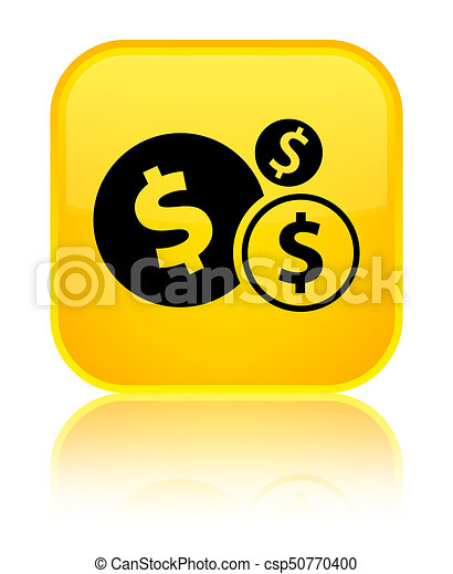 Finances dollar sign icon special yellow square button - csp50770400