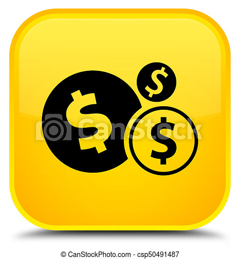 Finances dollar sign icon special yellow square button - csp50491487