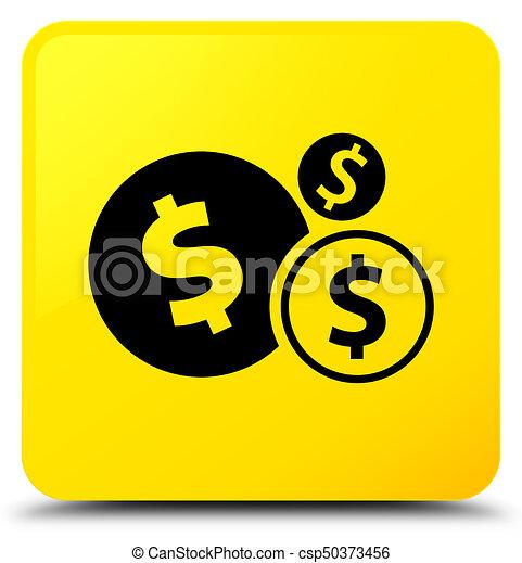 Finances dollar sign icon yellow square button - csp50373456