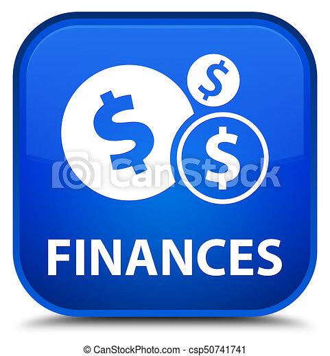 Finances (dollar sign) special blue square button - csp50741741